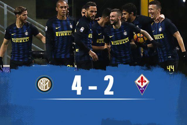 Inter batte Fiorentina 4-2