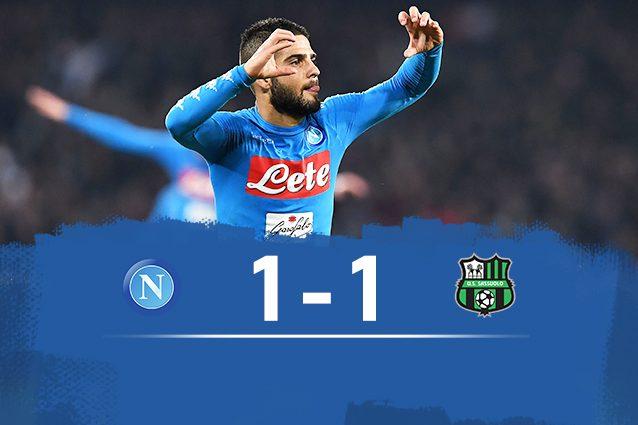 Napoli-Sassuolo finisce 1-1