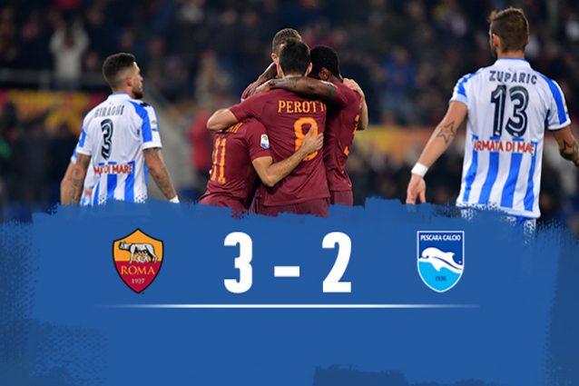 Roma batte Pescara 3-2