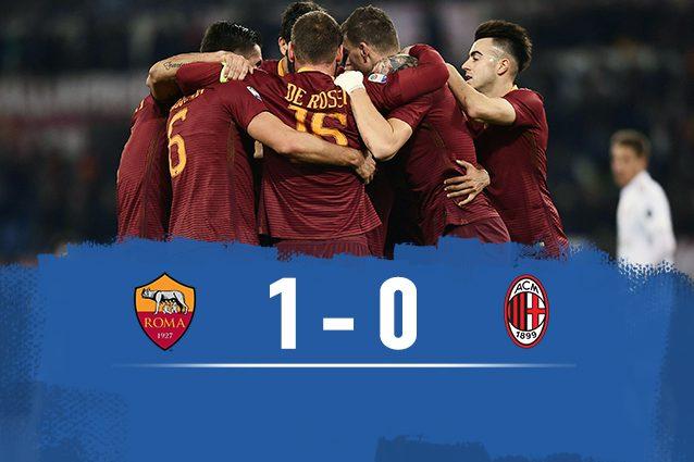 Roma-Milan 1-0, Spalletti a -4 dalla Juve
