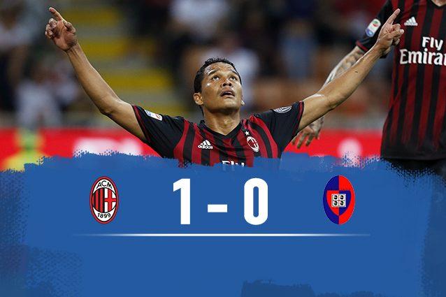 Bacca torna a segnare e il Milan a vincere: 1-0 al Cagliari