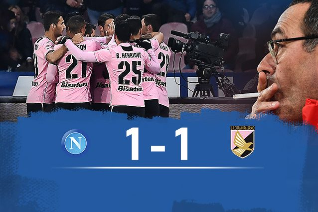 Napoli-Palermo 1-1, sorpresa al San Paolo