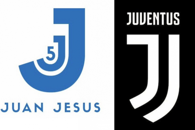 La somiglianza tra il marchio del difensore della Roma Juan Jesus e quello nuovo di zecca della Juventus