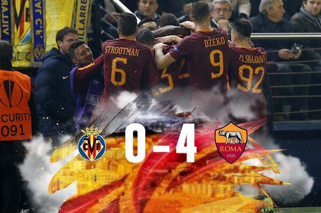 Europa League, la Roma affonda il Sottomarino giallo: 4-0 al Villarreal, tris di Dzeko