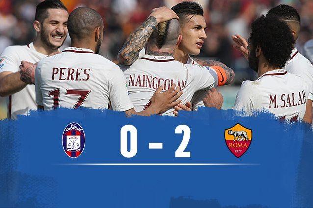 Nainggolan e Dzeko, la Roma vince a Crotone (2-0) e supera il Napoli