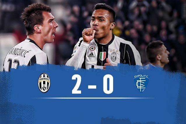 Juventus-Empoli 2-0, 30a vittoria di fila in casa per i bianconeri
