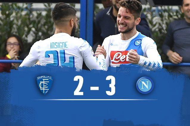 Doppietta di Insigne e gran gol di Mertens, il Napoli vince 3-2 a Empoli
