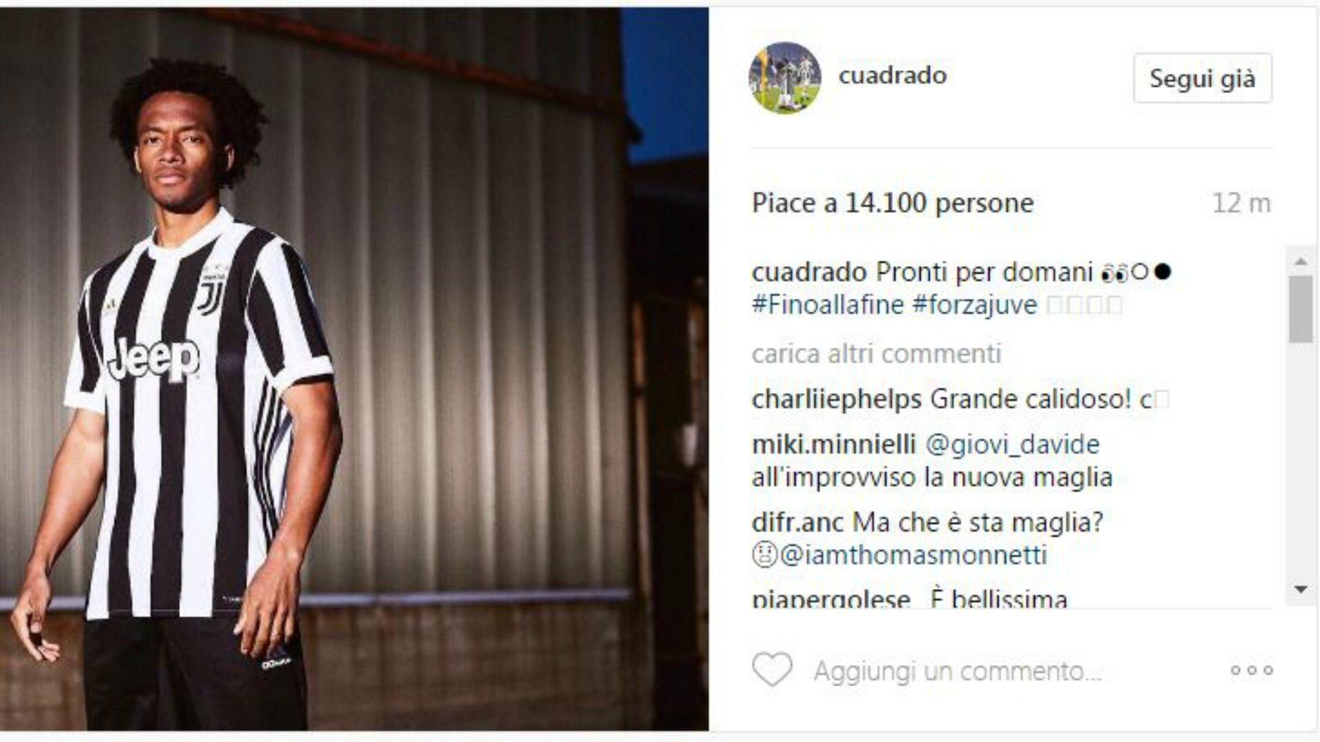 Cuadrado gaffe sui social: svela la nuova maglia della Juventus FOTO