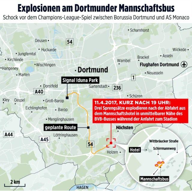 La mappa dei media tedeschi che ha ricostruito l'attentato contro il Borussia Dortmund