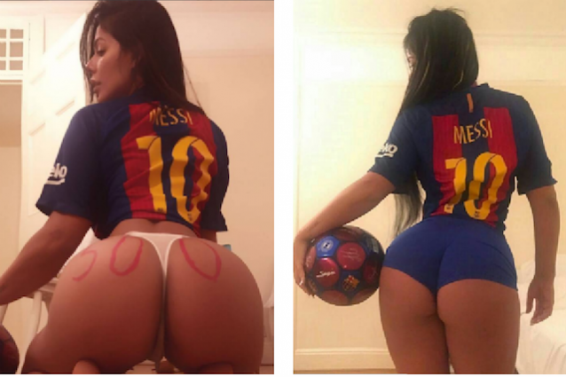 Suzy Cortez festeggia a modo suo su Instagram l'ennesimo record di Leo Messi (https://www.instagram.com/suzycortezoficial/)