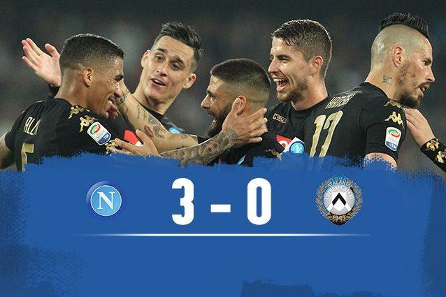 Napoli-Udinese 3-0, Sarri a due punti dalla Roma