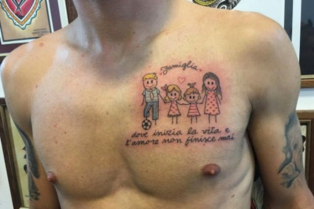 Eccezionale Immobile, papà campione tatuaggio dedicato a moglie e figlie OF77