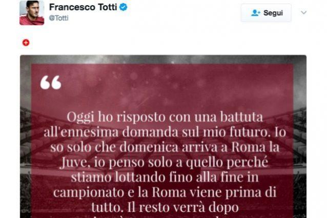 """Totti: """"Il mio futuro è la partita con la Juve"""". Poi farà il dirigente con Monchi"""