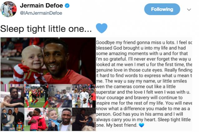 Calcio: Jermain Defoe si commuove parlando del piccolo Bradley
