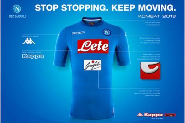 La nuova maglia anti–trattenuta del Napoli (foto sito ufficiale http://www.sscnapoli.it/)