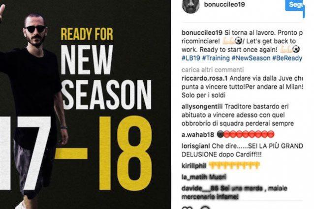 Bonucci al Milan, insulti beceri e auguri di morte a moglie e figli dai suoi ex tifosi