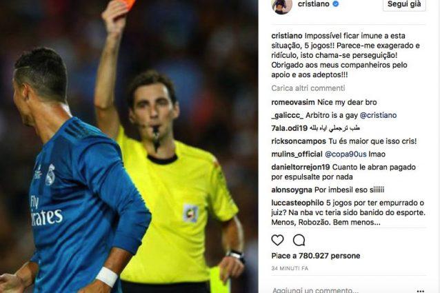 Stangata Cristiano Ronaldo, stop di 5 turni