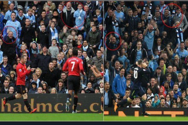 Rooney segna al City con la maglia dell'Everton, 5 anni dopo il gol con lo United e sugli spalti ci sono gli stessi tifosi (foto The Sun)