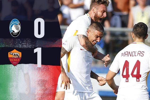 Gol di Kolarov. La Roma di Di Francesco batte 1-0 l'Atalanta