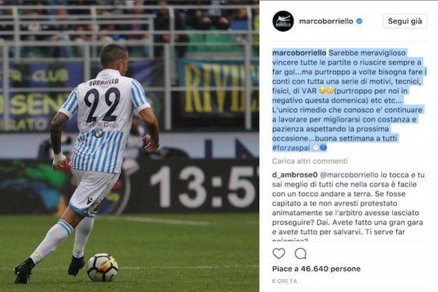 Il post di Borriello su Instagram