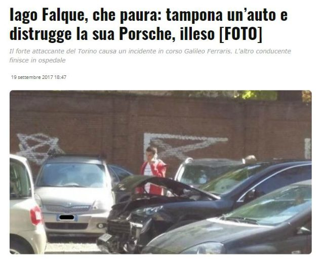 QUI TORINO - Incidente stradale per Iago Falque: giocatore illeso