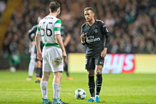 Neymar nega il saluto e la maglia a Ralston, il difensore del Celtic