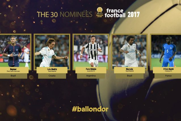 Pallone d'Oro 2017, la lista dei 30 calciatori nominati da France Football
