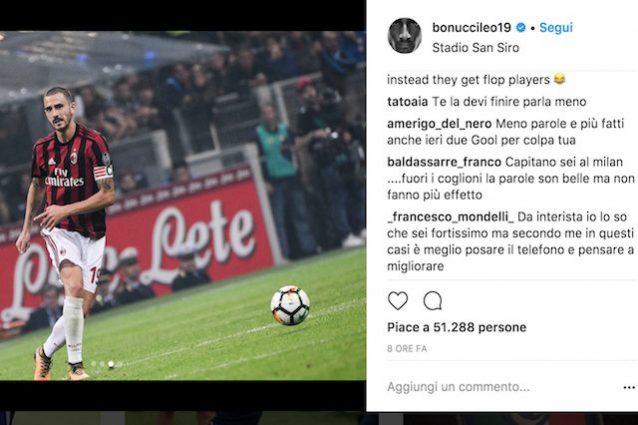 Bonucci su Instagram dopo il fischio finale di Inter–Milan