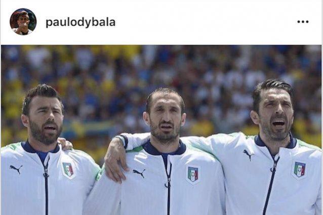 Dybala rincuora su Instagram Buffon, Chiellini e Barzagli