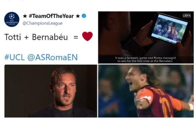 """Roma, l'Uefa celebra il gol di Totti al Bernabeu. L'ex capitano: """"Non lo scorderò mai"""""""