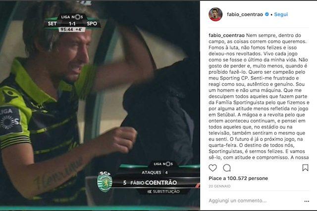 Il post di Coentrao su Instagram dopo il match con il Vitoria