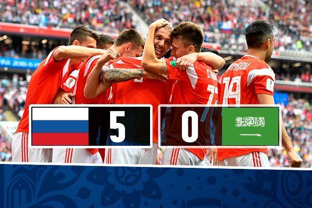 Mondiali, Russia a valanga sull'Arabia Saudita