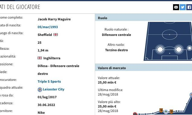 La scheda di Harry Maguire. (transfermarkt.it)