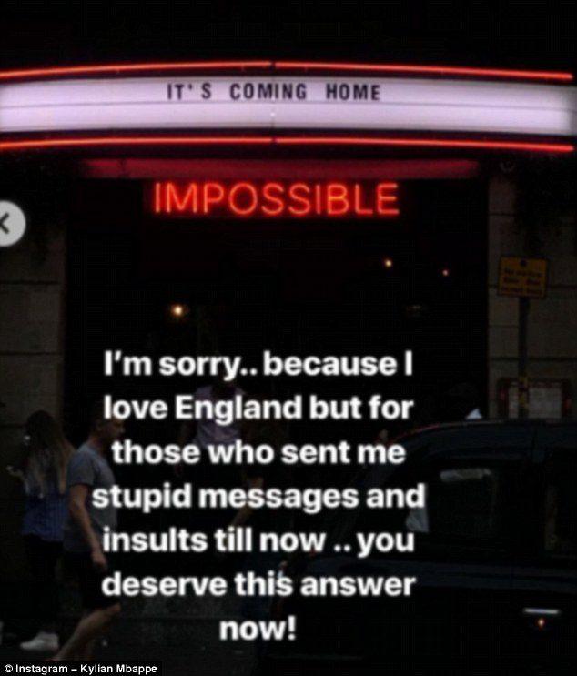 La stories di Insstagram con annesso sfottò agli inglesi.