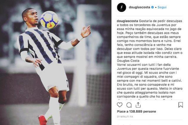 Douglas Costa chiede scusa sui social, ma verrà multato