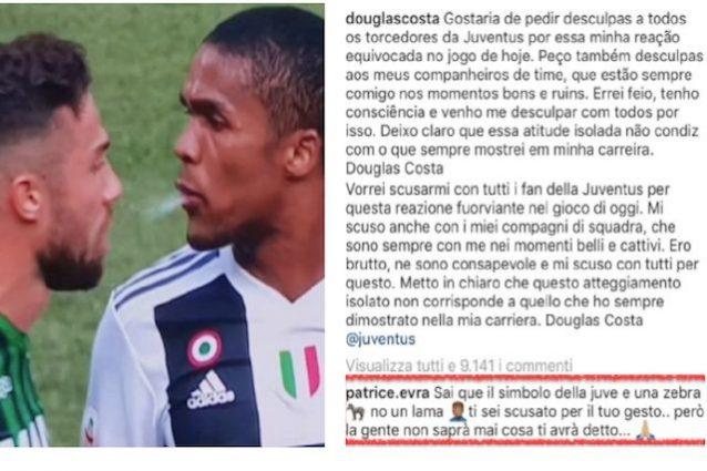 Douglas Costa, procura FIGC: prova tv per sputo-gomitata: ECCO COSA RISCHIA