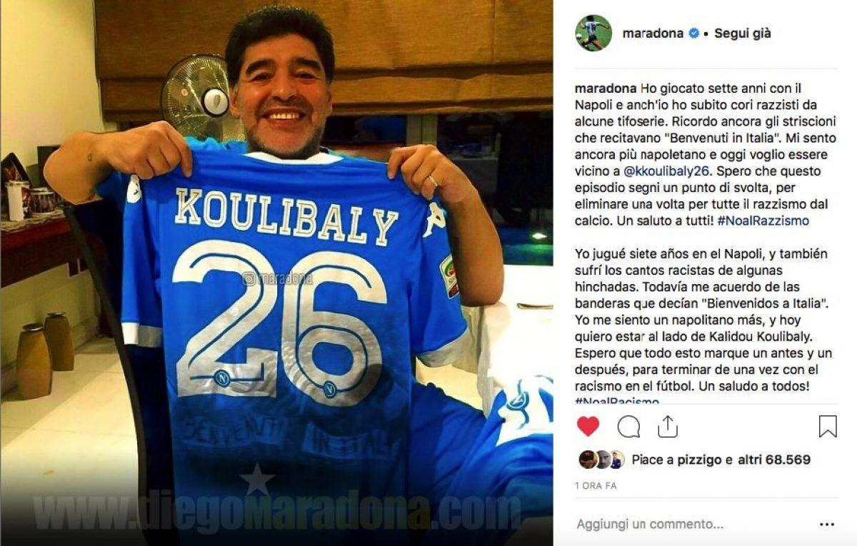 Il pensiero di Maradona per Koulibaly  Vicino a Kalidou. Ricordo razzismo  contro Napoli b730f5b2d9b4f