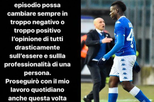 """Balotelli, lo sfogo social dopo l'espulsione: """"Continuate a"""