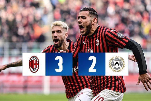 Milan Udinese 3 2, Rebic e Theo fanno risorgere il Diavolo a