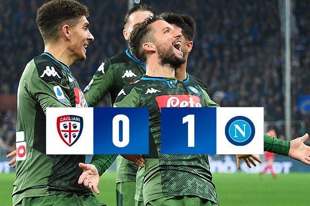 Cagliari Napoli 0 1, decide Mertens. 120° gol del belga con