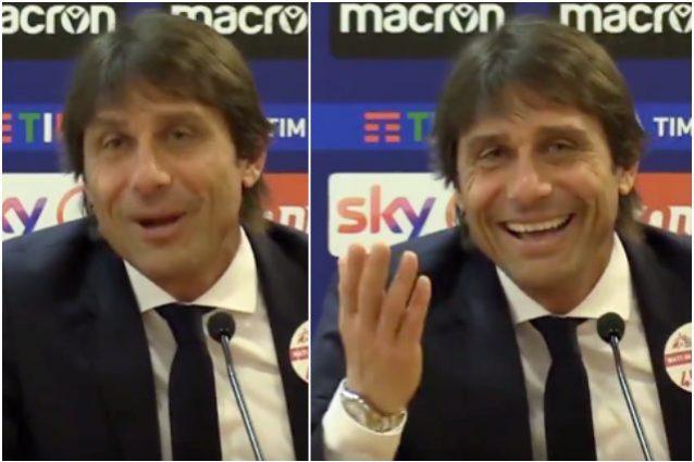 Antonio Conte ritrova il sorriso dopo il ko con la Lazio gra